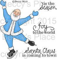 Skating Santa digital stamps