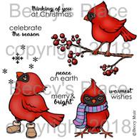 Christmas Cardinals digital stamps