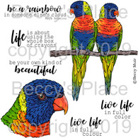 Rainbow Lorikeets digital stamps