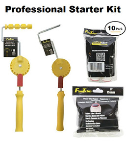 "1 - 11 position adjustable mini cage frame     1 - 11 position adjustable jumbo mini cage frame     2 - 2 pack of 3"" Paintshield microfiber edging rollers     2 - 2 pack of 4.5"" Paintshield microfiber jumbo edging rollers.     1 - Fixed handle with 1 - 4.5"" Paintshield roller"
