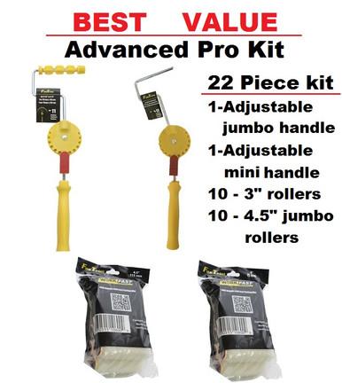 """1 - Jumbo Mini 11 position adjustable handle - works with all 3/4"""" jumbo minis 1 - Mini 11 position adjustable handle - works with all 1/2"""" mini rollers 1 - Fixed Jumbo frame - with 4.5"""" jumbo mini PaintShield roller - works with all 3/4"""" jumbo 10 - Mini 3"""" PaintShield rollers - microfiber fabric - shed resistant - washable - great pickup  10 - Jumbo Mini 4.5"""" PaintShield rollers - microfiber fabric - shed resistant - washable - great pickup  Both handles work with all standard mini and jumbo mini rollers."""