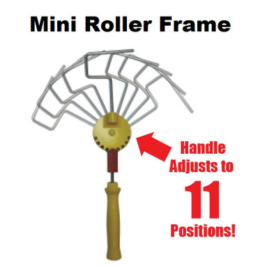 """11 position adjustable handle  *Easy to use thumb tab. *Screws onto regular extension pole Adjustable handle used on an extension pole with our paintshield rollers eliminates ladder and brushwork *Easy to adjust *Easy to learn *Paint 50% faster than traditional painting processes. WHEN ORDERING EXTRA ROLLER COVERS - BE SURE TO SPECIFY 3"""" mini Roller Covers"""