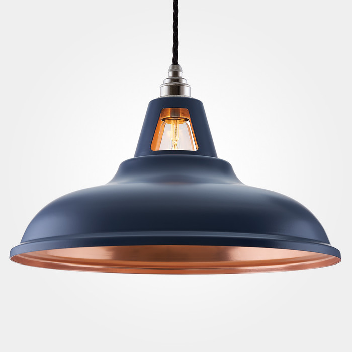 Supersized Fusion Pendant Light - MATT Blue & Copper