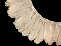 1 Yard - Ivory Goose Pallet Parried Dyed Feather Trim