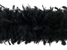 2 Yards - Black Heavy Weight Chandelle Feather Boa | 80 Gram