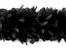 2 Yards - Black Heavy Weight Turkey Flat Feather Boa, 150 Gram