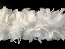 2 Yards - Snow White Heavy Weight Turkey Flat Feather Boa, 150 Gram