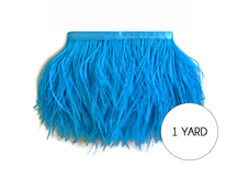 1 Yard - Turquoise Blue Ostrich Fringe Trim Wholesale Feather (Bulk)