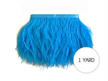 1 Yard - Turquoise Blue Ostrich Fringe Trim Wholesale Feather (Bulk)