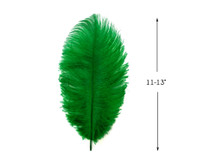 """10 Pieces - 11-13"""" Kelly Green Bleached & Dyed Ostrich Drabs Body Feathers"""