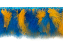 1 Yard - Golden Blue Marabou Turkey Fluff Feather Fringe Trim