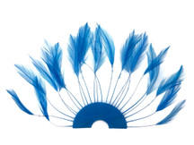 1 Piece - Blue Half Beaded Pinwheel Stripped Rooster Hackle Feather Pads