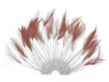 1 Piece - Taupe Half Beaded Pinwheel Stripped Rooster Hackle Feather Pads