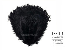 "1/2 Lb - 9-13"" Black Ostrich Drab Wholesale Feathers (Bulk)"