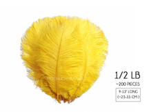 "1/2 Lb. - 9-13"" Yellow Dyed Ostrich Body Drab Wholesale Feathers (Bulk)"
