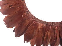 1 Yard - Brown Goose Pallet Parried Dyed Feather Trim