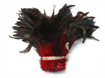 1 Yard - Red Half Bronze Strung Rooster Schlappen Wholesale Feathers (Bulk)