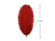 "10 Pieces - 11-13"" Red Bleached & Dyed Ostrich Drabs Body Feathers"
