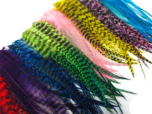 100 Pieces - Colorful Medium Length Rooster Saddle Whiting Hair Extension Wholesale Feathers (Bulk)