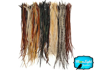 SOLID PEACOCK Green Thin Long Rooster Hair Extension Feathers 10 Pieces