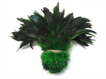 1 Yard - Kelly Green Half Bronze Strung Rooster Schlappen Wholesale Feathers (Bulk)