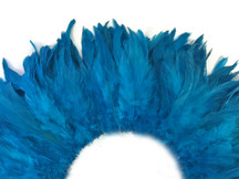 4 Inch Strip - Turquoise Blue Bleached And Dyed Strung Rooster Schlappen Feathers