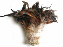 "1 Yard - 5-7"" Natural Brown Bronze Strung Rooster Schlappen Wholesale Feathers (Bulk)"