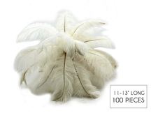 "100 Pieces - 11-13"" Off White Ostrich Drabs Wholesale Body Feathers (Bulk)"