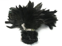 1 Yard - Black Dyed Strung Rooster Schlappen Wholesale Feathers (Bulk)