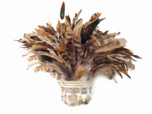 1 Yard - Natural Brown Chinchilla Strung Rooster Schlappen Wholesale Feathers (Bulk)