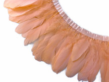 1 Yard - Peach Goose Pallet Parried Dyed Feather Trim