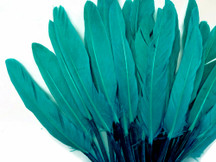 1/4 Lb. - Peacock Green Dyed Duck Cochettes Loose Wing Quill Wholesale Feather (Bulk)