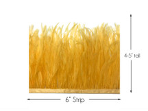 6 Inch Strip - Golden Yellow Ostrich Fringe Trim Feather