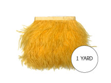 1 Yard - Golden Yellow Ostrich Fringe Trim Wholesale Feather (Bulk)