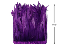"1 Yard - 10-12"" Purple Bleach and Dyed Coque Tails Long Feather Trim (Bulk)"