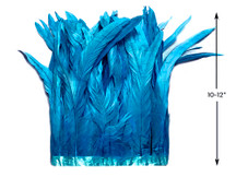 """1 Yard - 10-12"""" Turquoise Blue Bleach and Dyed Coque Tails Long Feather Trim (Bulk)"""