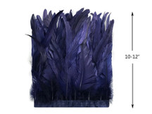 "1 Yard - 10-12"" Navy Bleach and Dyed Coque Tails Long Feather Trim (Bulk)"