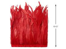 "1 Yard - 10-12"" Red Bleach Coque Tails Long Feather Trim (Bulk)"