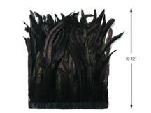 """1 Yard - 10-12"""" Black Bleach Coque Tails Long Feather Trim (Bulk)"""
