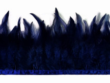 1 Yard - Navy Blue Rooster Neck Hackle Saddle Feather Wholesale Trim
