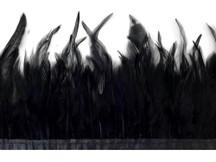 1 Yard - Black Rooster Neck Hackle Saddle Feather Wholesale Trim