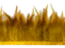 1 Yard - Dyed Golden Yellow Over Natural Rooster Neck Hackle Saddle Feather Wholesale Trim