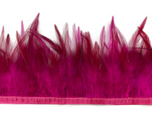 1 Yard - Dyed Hot Pink Over Natural Rooster Neck Hackle Saddle Feather Wholesale Trim