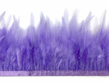 1 Yard - Lavender Rooster Neck Hackle Saddle Feather Wholesale Trim