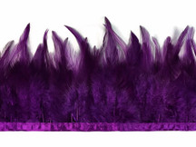 1 Yard - Purple Rooster Neck Hackle Saddle Feather Wholesale Trim