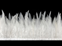 1 Yard - White Rooster Neck Hackle Saddle Feather Wholesale Trim