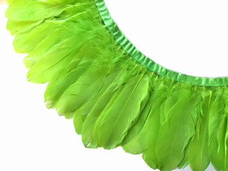 Lime Green Goose Nagoire And Satinettes Feather Trim