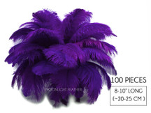"100 Pieces - 8-10"" Purple Ostrich Dyed Drab Body Wholesale Feathers (Bulk)"