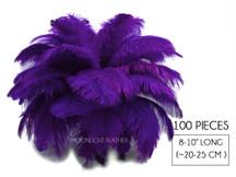 "100 Pieces - 8-10"" Purple Ostrich Dyed Drab Body Wholesale Feathers (Bulk)"