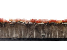 Red and gray fluffy pheasant feather strip